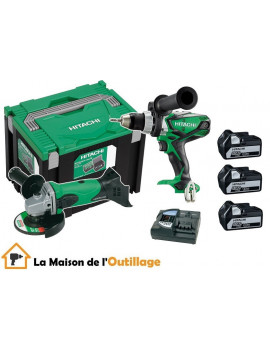Hitachi KC18DLL - Pack perceuse visseuse et meuleuse Hitachi 18V 5Ah